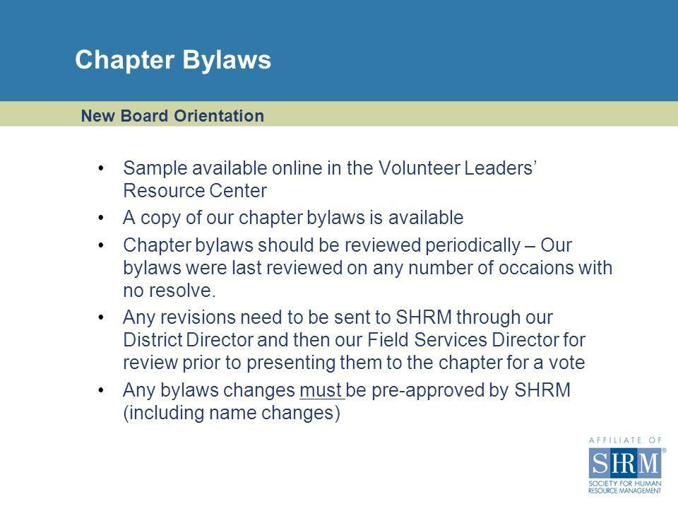 New Board Orientation For Chapter Officers, Directors, and Chairs ...