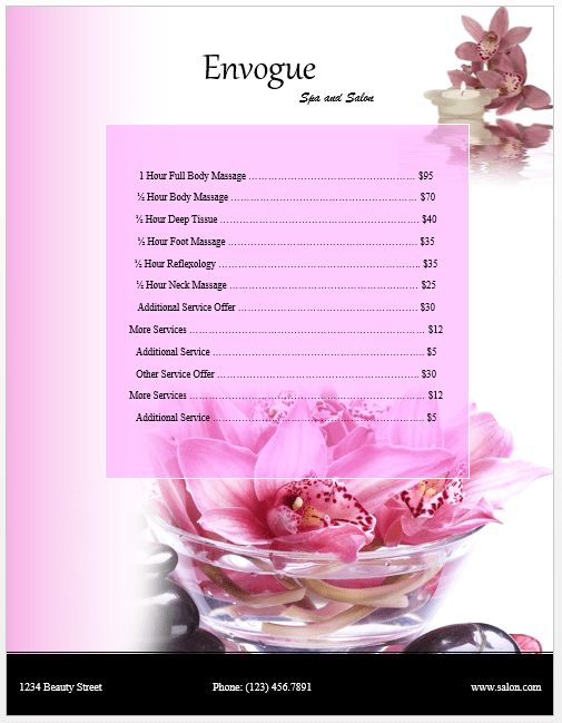 SPA Price List Template | Microsoft Word Templates
