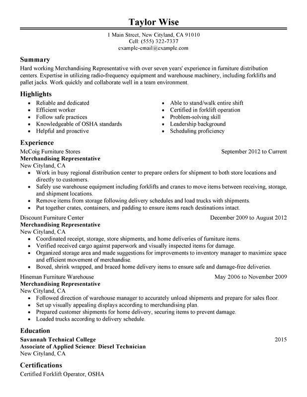 Warehouse Resume Template. Warehouse Supervisor Resume Sample ...