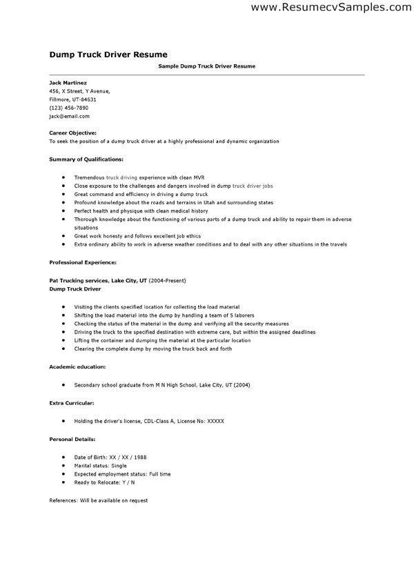 Formal Career Objective Dump Bus Driver Resume Sample and : Expozzer
