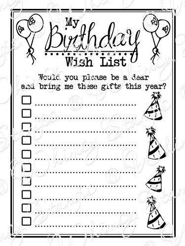 Birthday Wish List Template | Template Design