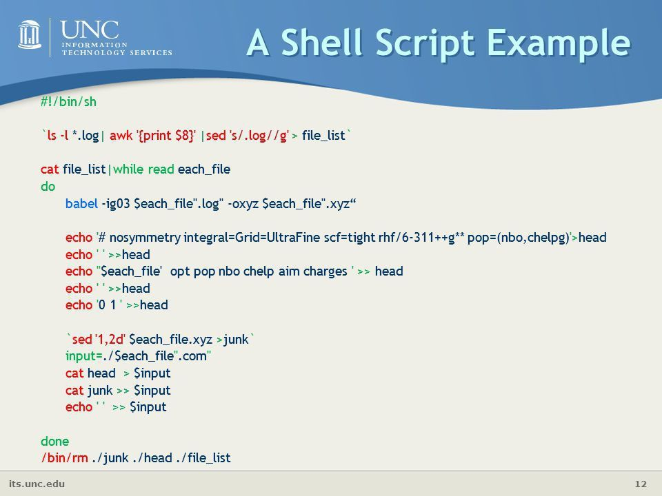 Shell Scripting Shubin Liu, Ph.D. Research Computing Center - ppt ...