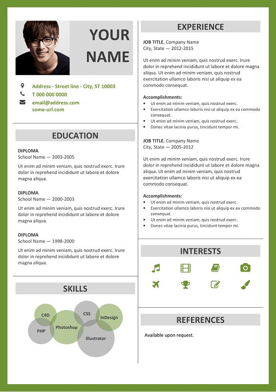 Fitzroy Free Resume Template Microsoft Word - Green Layout ...