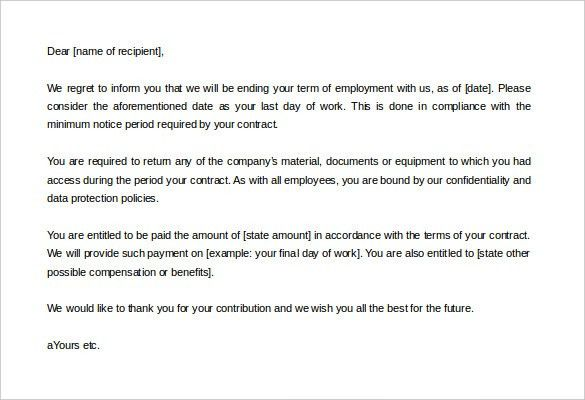 Contract Termination Letter – 9+ Free Word, PDF Documents Download ...