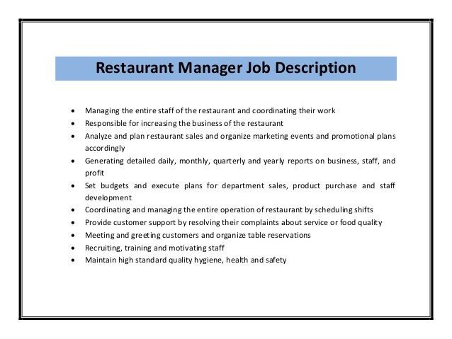 download restaurant resume templates. manager resume objective ...
