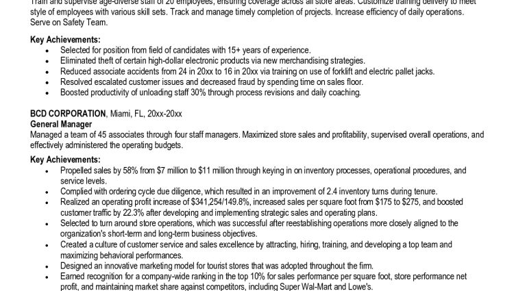 store manager resume sample Best Resume Headline for Retail Store ...
