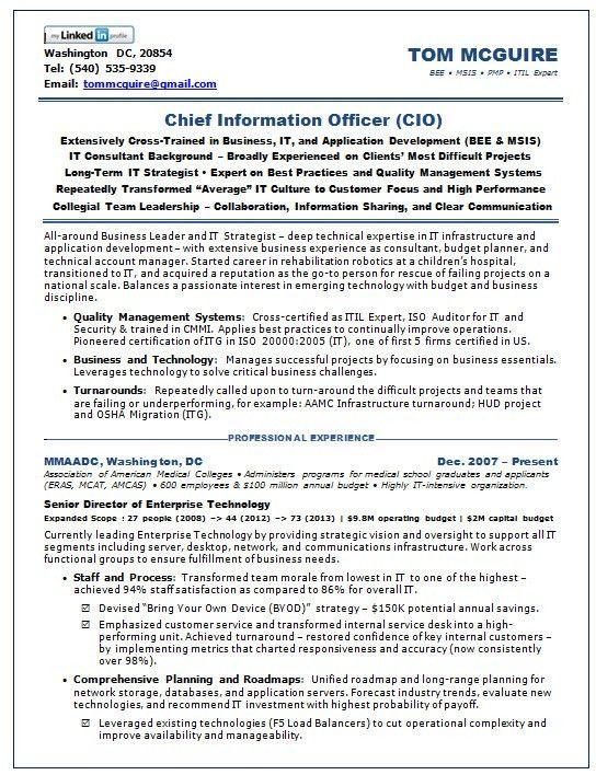 Resume Samples Chief Information Officer SaaS -