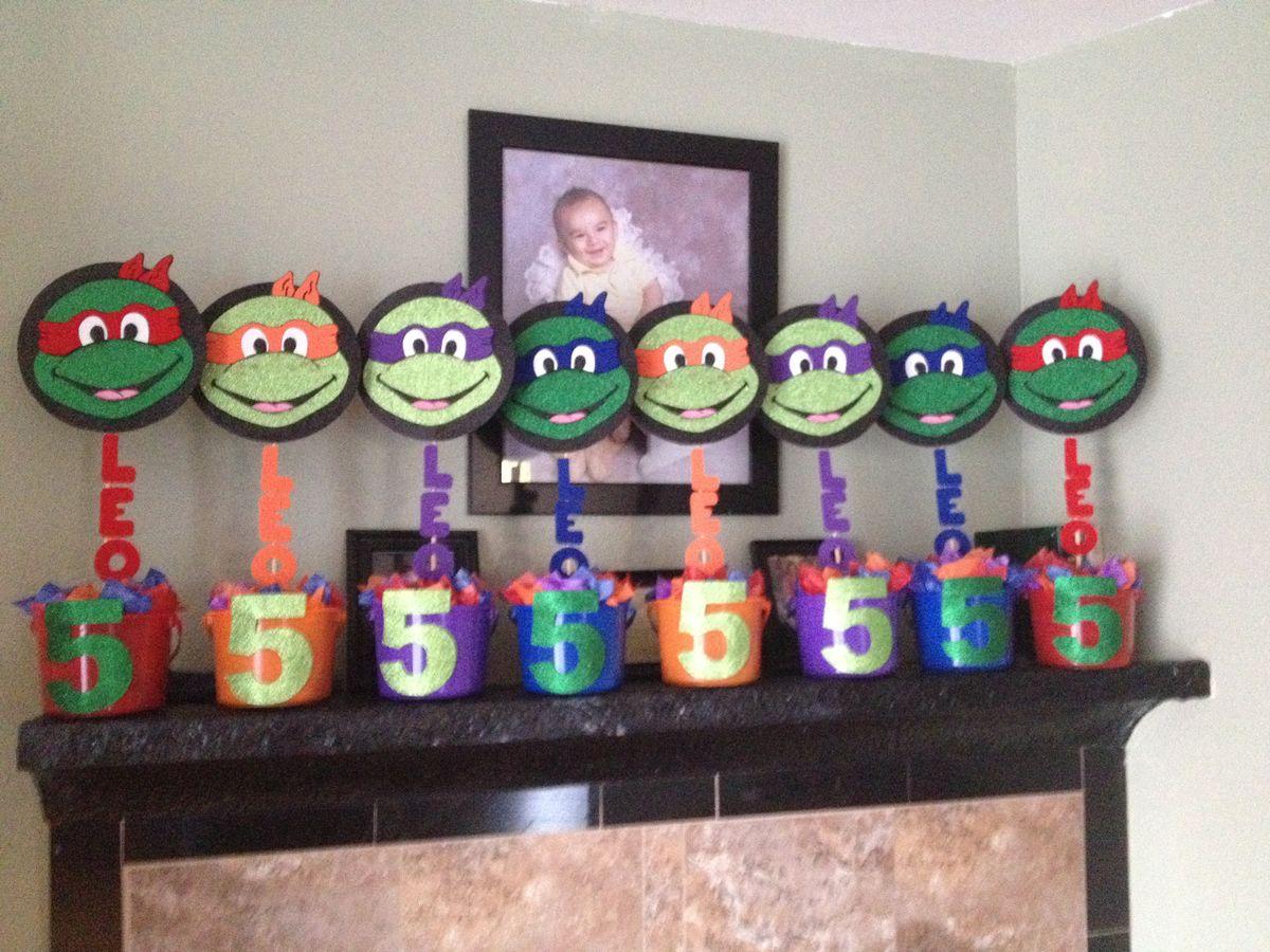 Diy Centerpieces For Ninja Turtle Party Birthday Parties Ninja