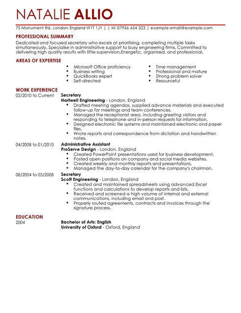 Nonsensical Resume For Secretary 4 Secretary Resume Example ...