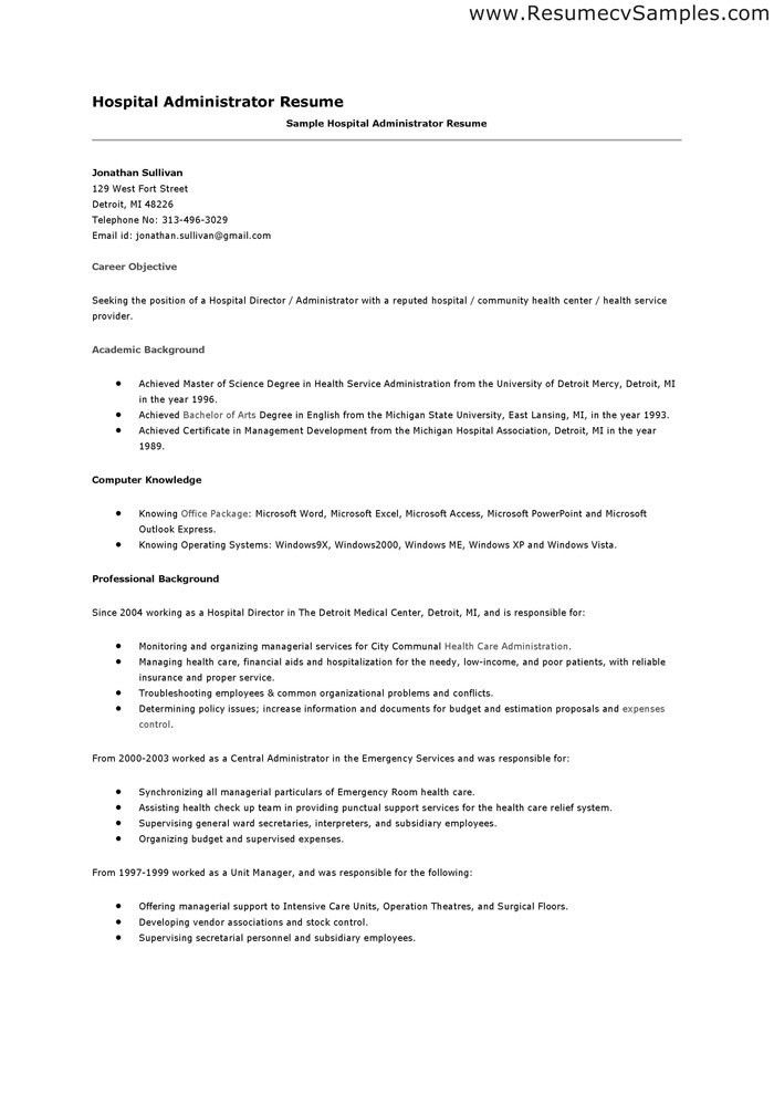 example for hospital administration resume