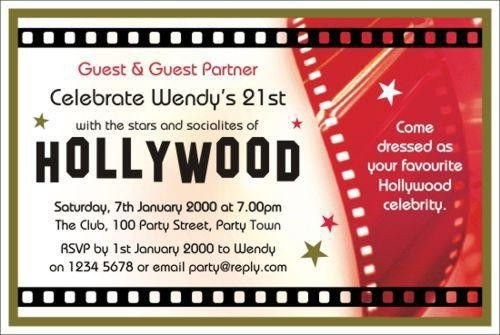 40th Birthday Ideas: Hollywood Birthday Invitation Template Free