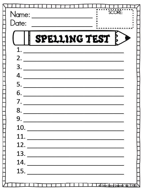 Spelling Test Template | cyberuse
