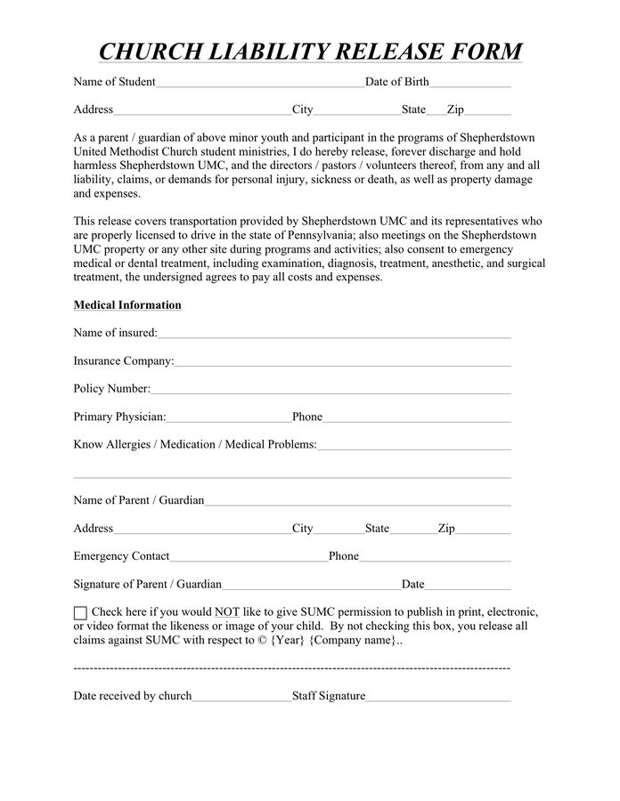 Church liability release form in Word and Pdf formats