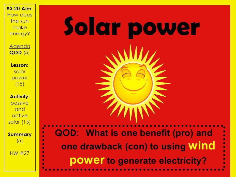 3.20 Aim: How does the sun make energy? Agenda QOD (5) Lesson ...