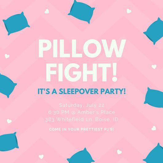 Pink Pillows Hearts Slumber Party Invite - Templates by Canva