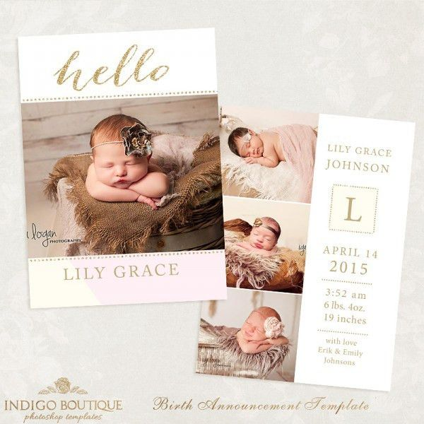 Birth Announcement Template for Photographers - Sweet Baby Vol.21