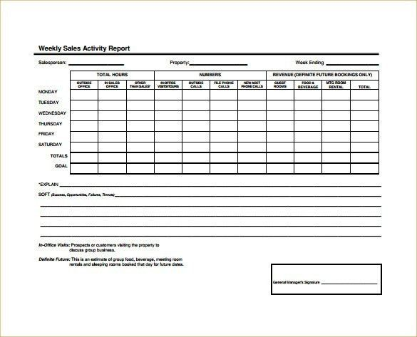 Weekly Sales Report Template | Template Idea