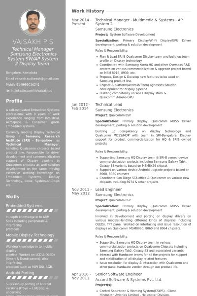 Technical Manager Resume samples - VisualCV resume samples database
