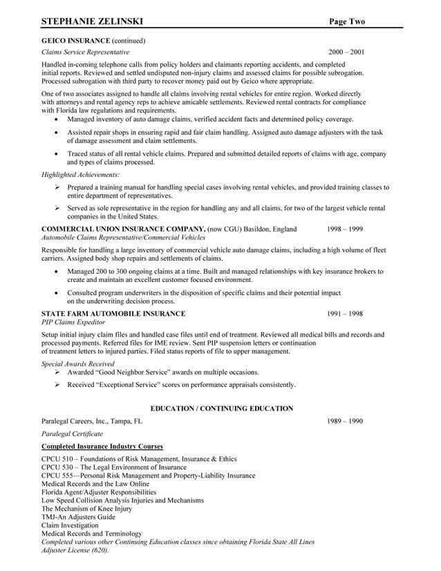 Insurance Resume Examples. Insuranceclaimsrep2 Resume Example ...