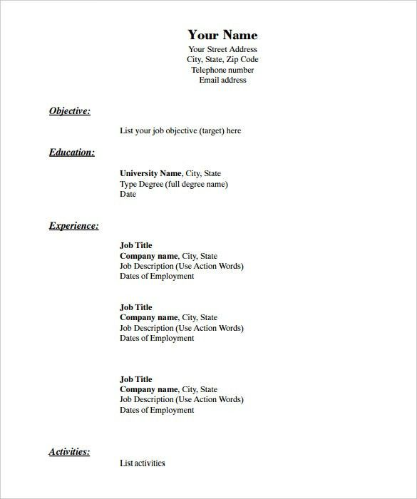 40+ Blank Resume Templates – Free Samples, Examples, Format ...