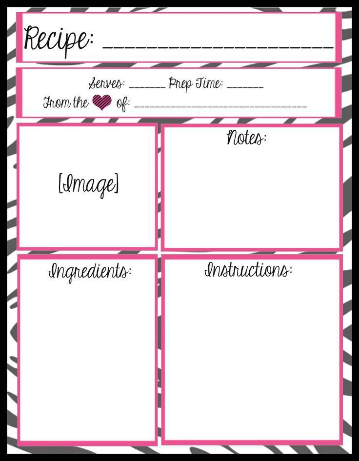 47 best recipe card templates images on Pinterest | Printable ...