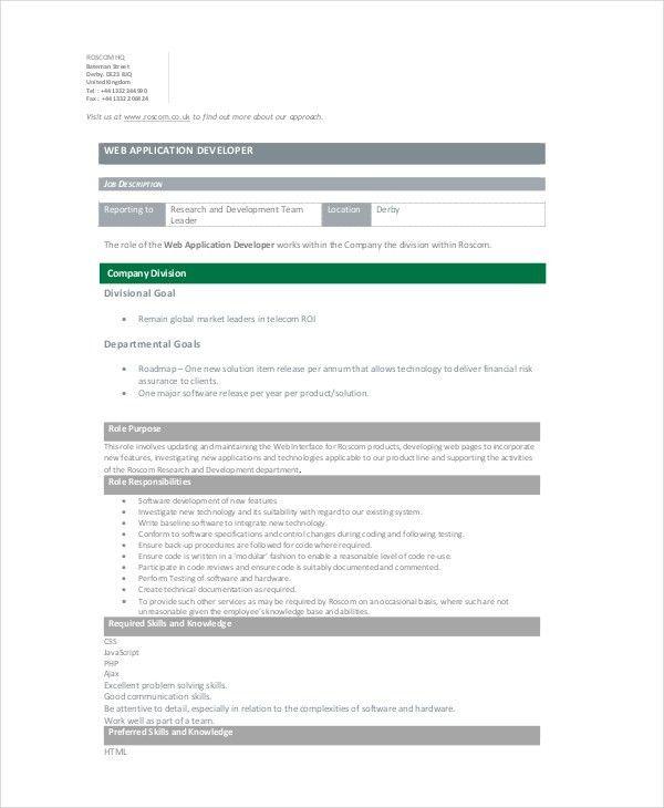 Software Developer Job Description. Extrel Cms Job Description Job .