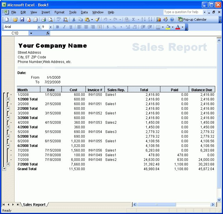 Extracting Reports - Excel Invoice Manager