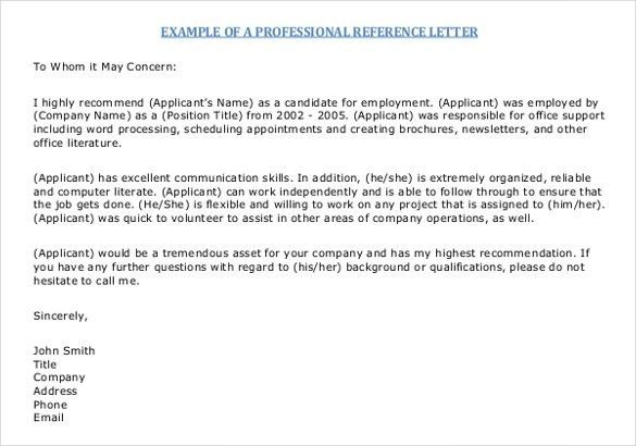 Sample Reference Letter Template For Employment | The Letter Sample