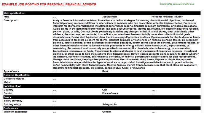 Personal Financial Advisor Job Title Docs
