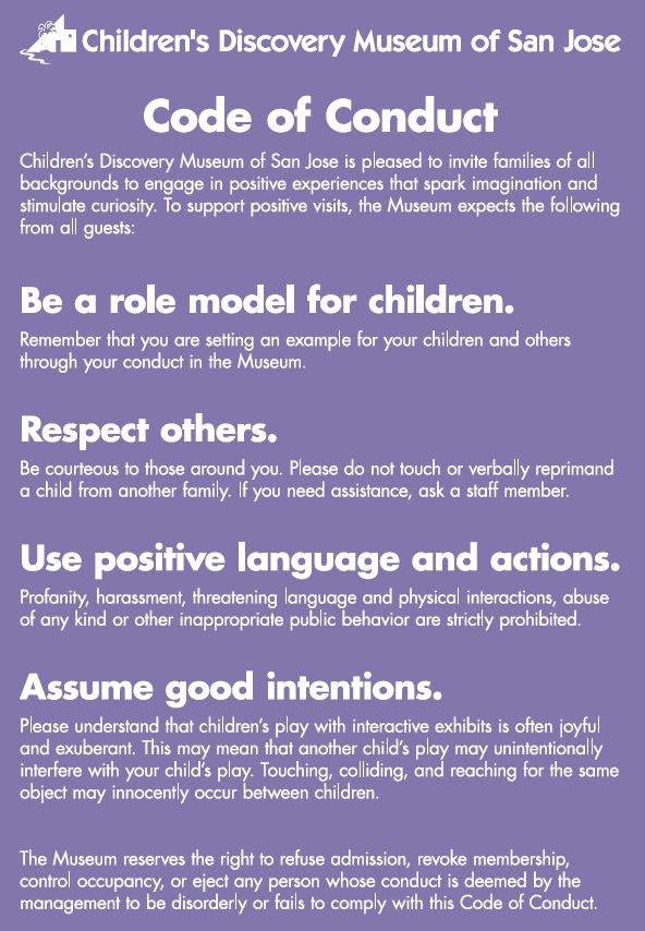 Code of Conduct | Children's Discovery Museum of San Jose