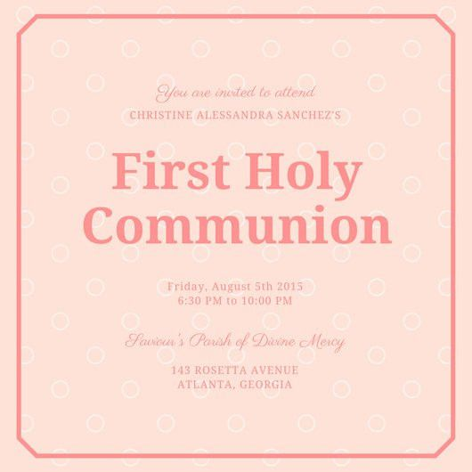 Pale Pink and Salmon First Holy Communion Invitation - Templates ...