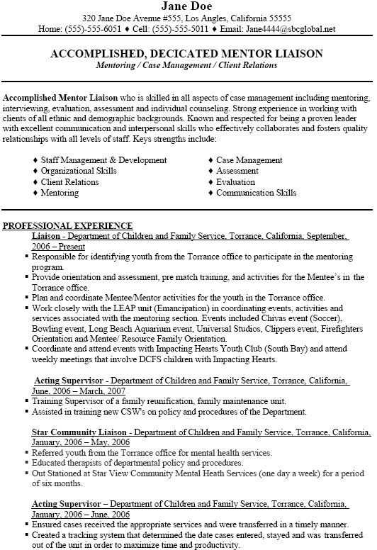 Social Work Sample Resume | Free Resumes Tips