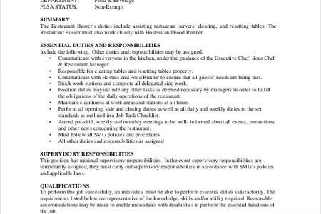 busser resume sample