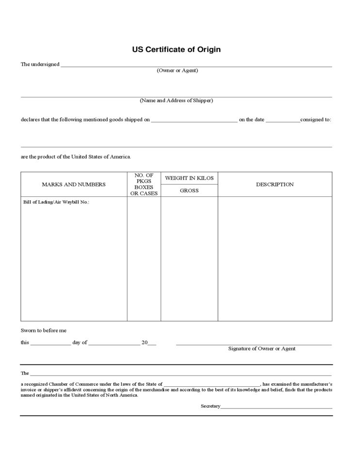 Print Out US Certificate Of Origin Form Free Download : Vlcpeque