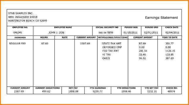 4+ pay stub template | writable calendar