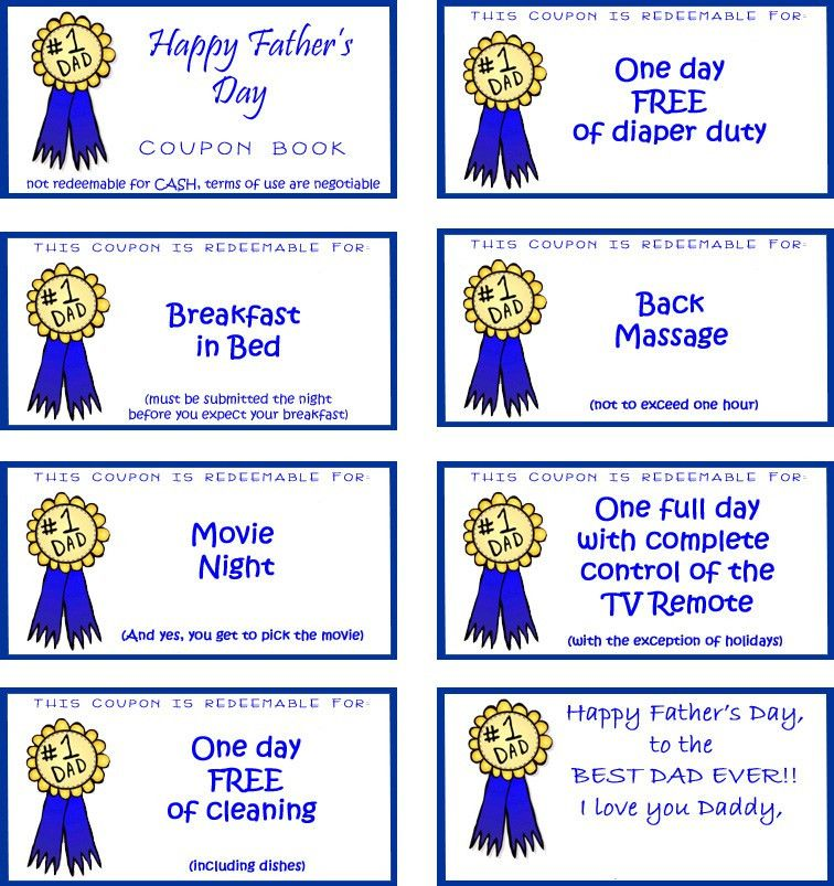 fathers day printable coupons | Free Father's Day Gifts Dad Will ...