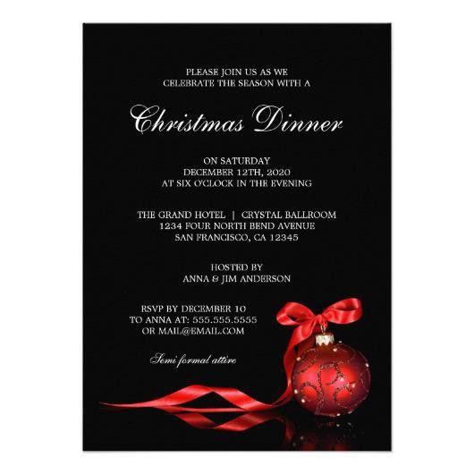 Elegant Christmas Dinner Party Invitation Template – Invitations 4 U
