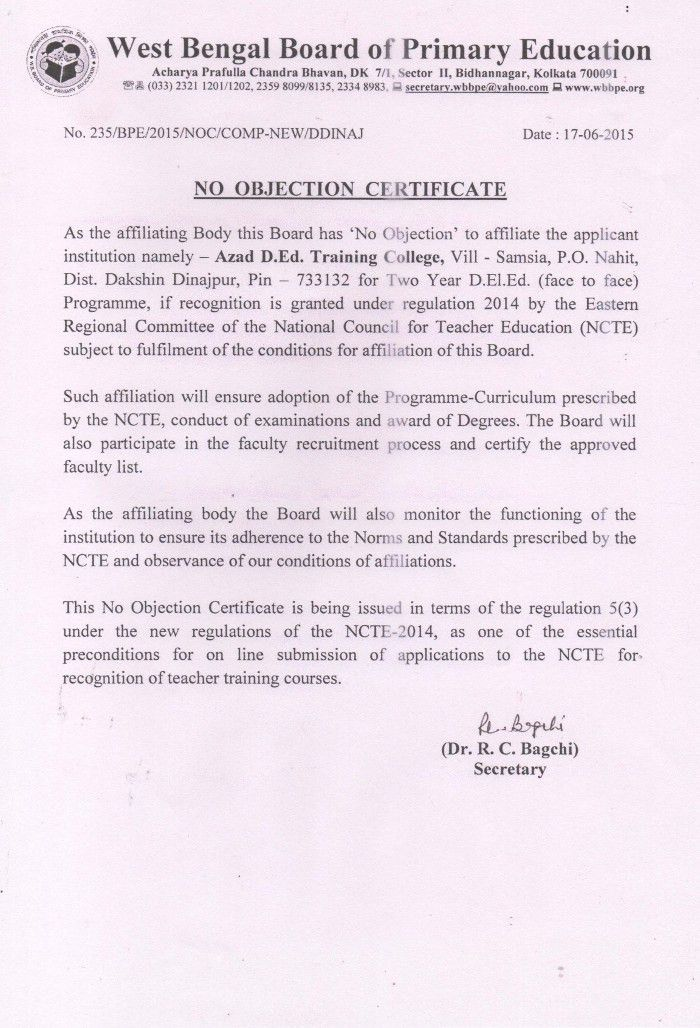No Objection Certificate – Azad Teachers' Training College