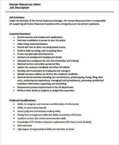 HR Intern Job Description Sample - 9+ Examples in Word, PDF