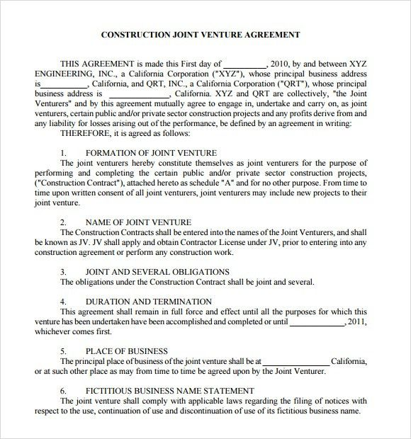 Template Joint Venture Agreement. joint venture agreement 9 free ...