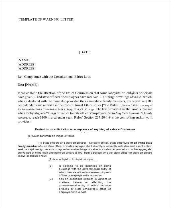 Company Warning Letter Template - 5+ Free Word, PDF Format ...