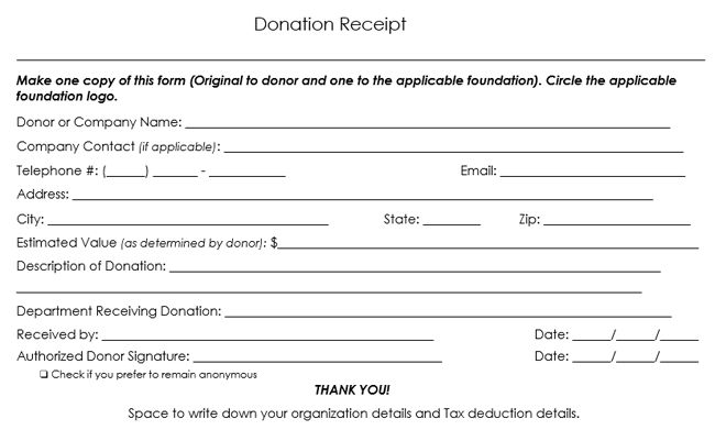 Donation Receipt Template - 12 Free Samples in Word and Excel