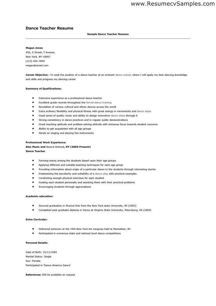 resume sample for physical education teacher. surprising dance ...