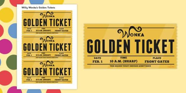 Role Play Golden Tickets to Support Teaching on Willy Wonka's