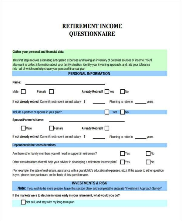 9+ Income Questionnaire Examples, Samples