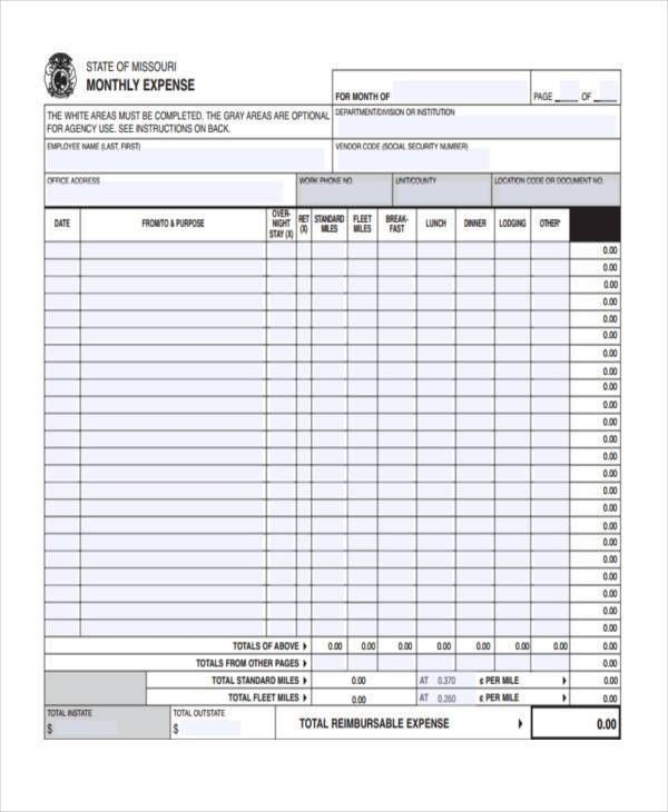 Free Expense Forms
