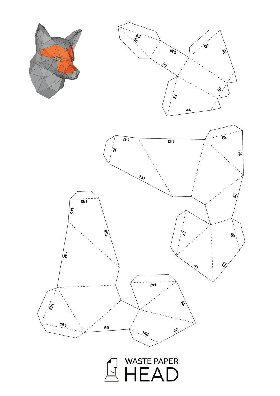 Паперкрафт схемы маска лисы 456