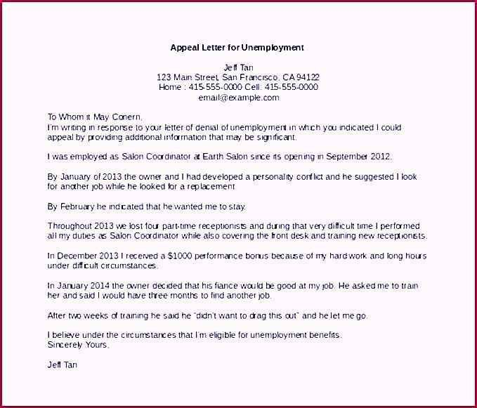 Appeal Letter Template for Unemployment MS Word Download ...