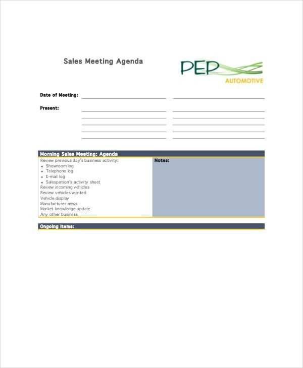 12+ Sales Meeting Agenda Templates – Free Sample, Example Format ...