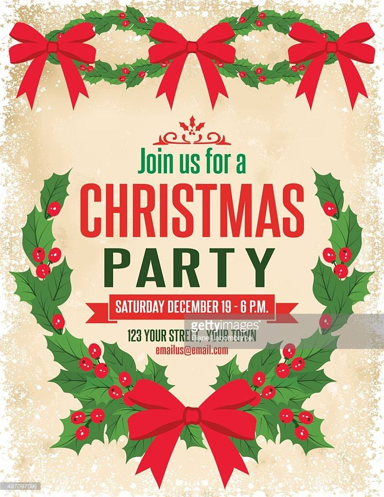 Holly Christmas Party Invitation Template Vector Art | Getty Images